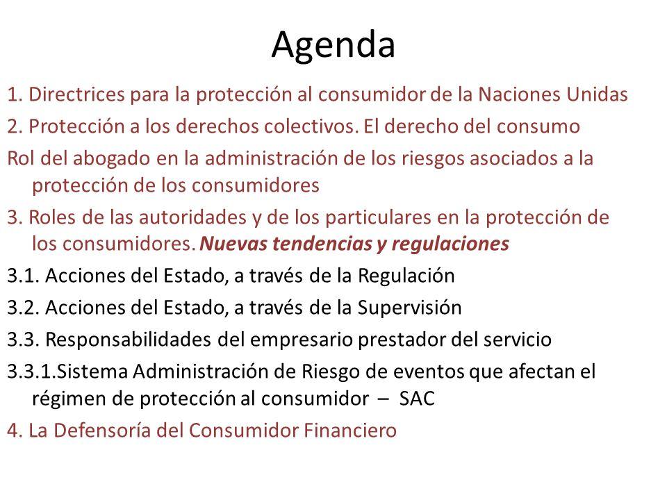 Agenda 1. Directrices para la protección al consumidor de la Naciones Unidas 2. Protección a los derechos colectivos. El derecho del consumo Rol del a