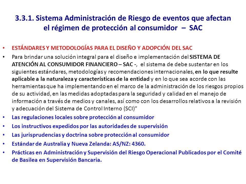 3.3.1. Sistema Administración de Riesgo de eventos que afectan el régimen de protección al consumidor – SAC ESTÁNDARES Y METODOLOGÍAS PARA EL DISEÑO Y