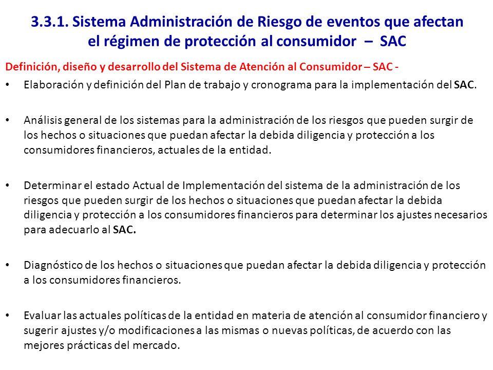 3.3.1. Sistema Administración de Riesgo de eventos que afectan el régimen de protección al consumidor – SAC Definición, diseño y desarrollo del Sistem
