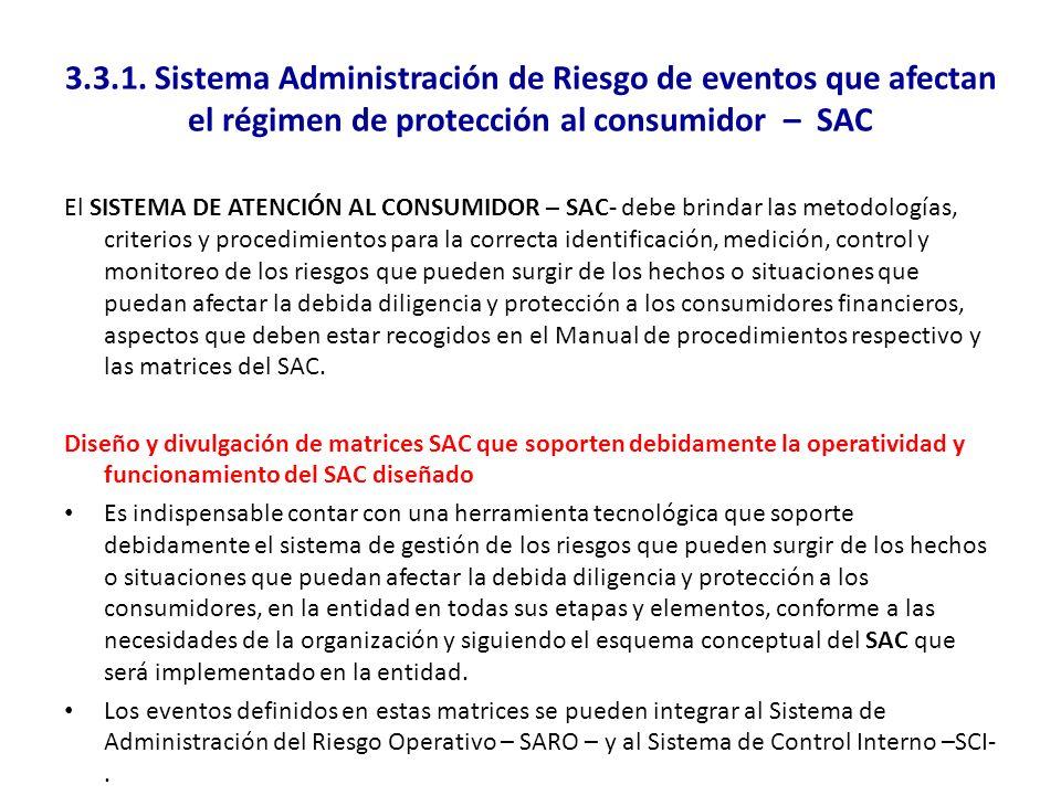 3.3.1. Sistema Administración de Riesgo de eventos que afectan el régimen de protección al consumidor – SAC El SISTEMA DE ATENCIÓN AL CONSUMIDOR – SAC