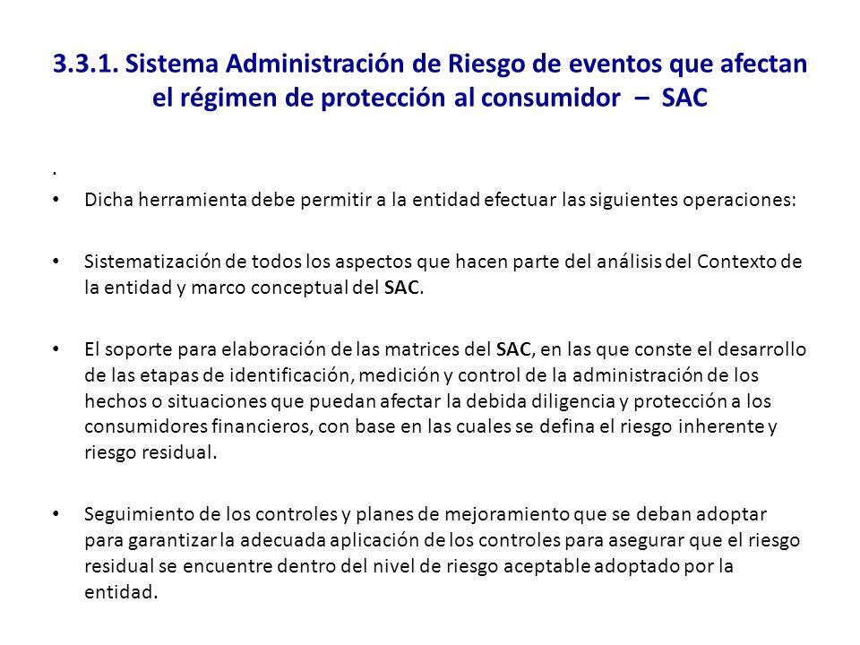 3.3.1. Sistema Administración de Riesgo de eventos que afectan el régimen de protección al consumidor – SAC. Dicha herramienta debe permitir a la enti