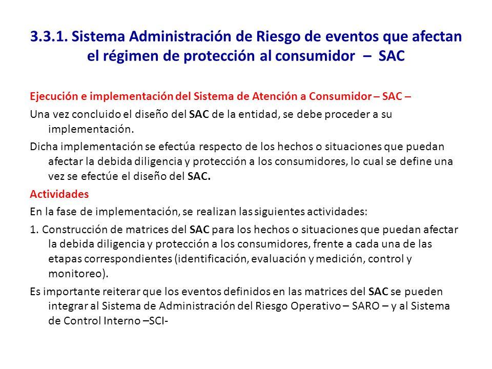 3.3.1. Sistema Administración de Riesgo de eventos que afectan el régimen de protección al consumidor – SAC Ejecución e implementación del Sistema de