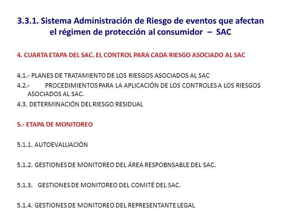 3.3.1. Sistema Administración de Riesgo de eventos que afectan el régimen de protección al consumidor – SAC 4. CUARTA ETAPA DEL SAC. EL CONTROL PARA C