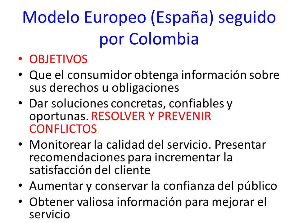 Modelo Europeo (España) seguido por Colombia OBJETIVOS Que el consumidor obtenga información sobre sus derechos u obligaciones Dar soluciones concreta