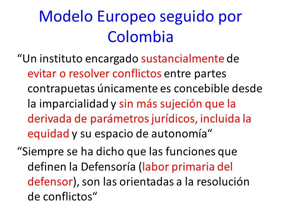 Modelo Europeo seguido por Colombia Un instituto encargado sustancialmente de evitar o resolver conflictos entre partes contrapuetas únicamente es con