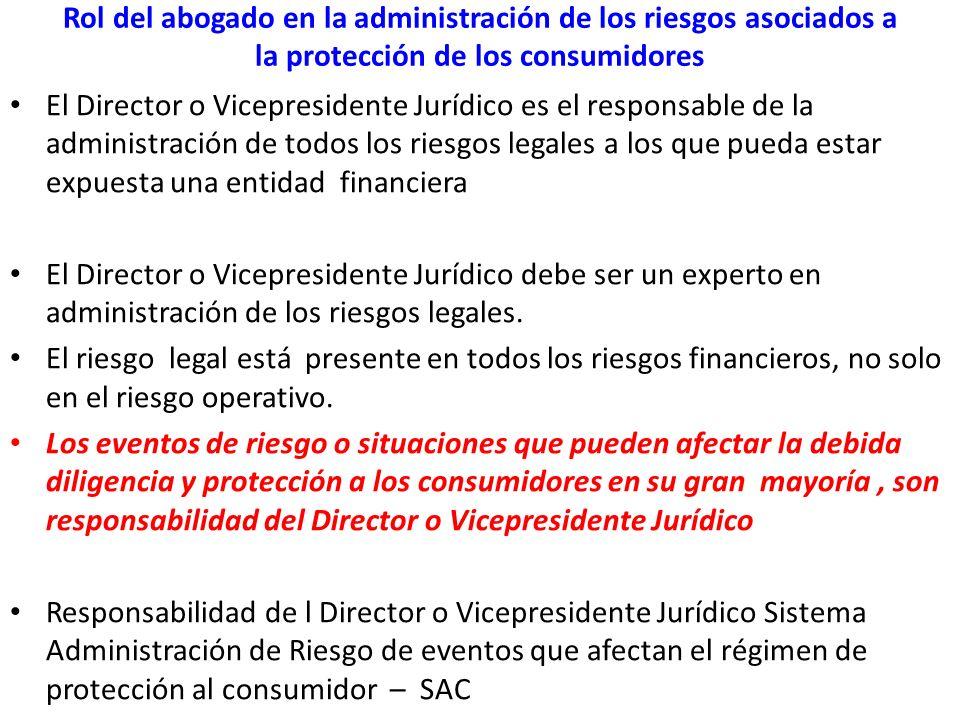 Rol del abogado en la administración de los riesgos asociados a la protección de los consumidores El Director o Vicepresidente Jurídico es el responsa