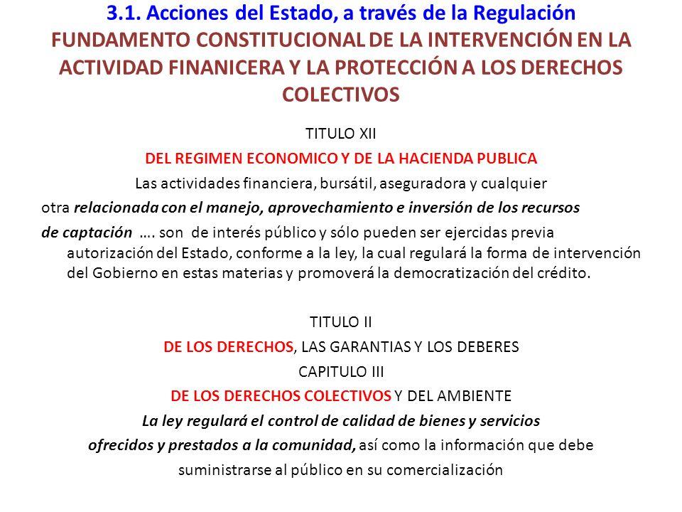 3.1. Acciones del Estado, a través de la Regulación FUNDAMENTO CONSTITUCIONAL DE LA INTERVENCIÓN EN LA ACTIVIDAD FINANICERA Y LA PROTECCIÓN A LOS DERE