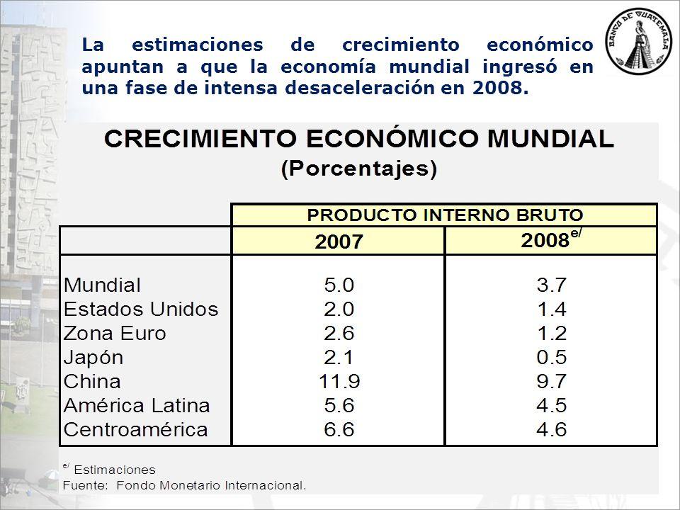La estimaciones de crecimiento económico apuntan a que la economía mundial ingresó en una fase de intensa desaceleración en 2008.