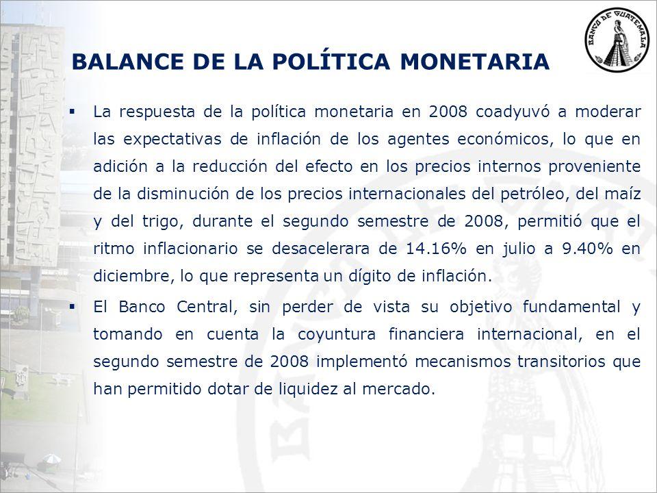 BALANCE DE LA POLÍTICA MONETARIA La respuesta de la política monetaria en 2008 coadyuvó a moderar las expectativas de inflación de los agentes económicos, lo que en adición a la reducción del efecto en los precios internos proveniente de la disminución de los precios internacionales del petróleo, del maíz y del trigo, durante el segundo semestre de 2008, permitió que el ritmo inflacionario se desacelerara de 14.16% en julio a 9.40% en diciembre, lo que representa un dígito de inflación.