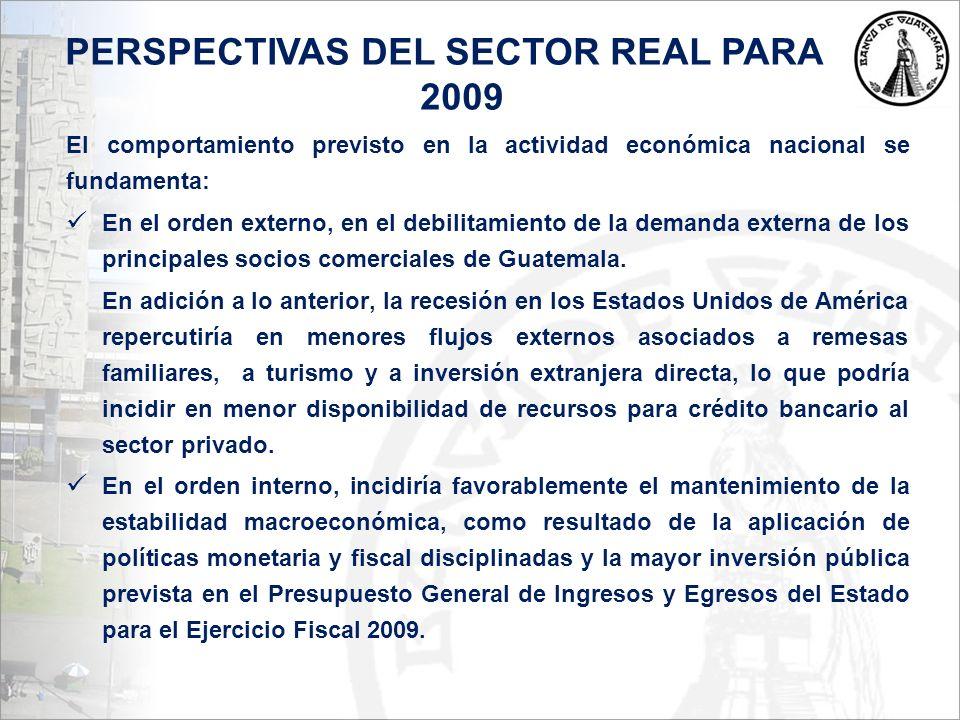 PERSPECTIVAS DEL SECTOR REAL PARA 2009 El comportamiento previsto en la actividad económica nacional se fundamenta: En el orden externo, en el debilitamiento de la demanda externa de los principales socios comerciales de Guatemala.