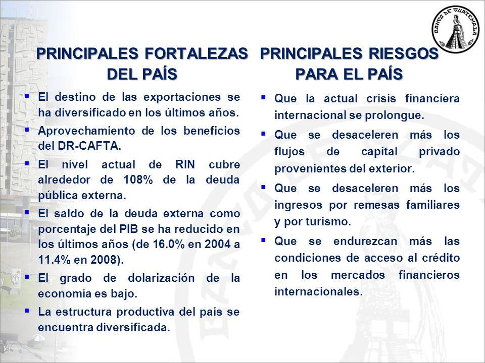 PRINCIPALES FORTALEZAS DEL PAÍS El destino de las exportaciones se ha diversificado en los últimos años.