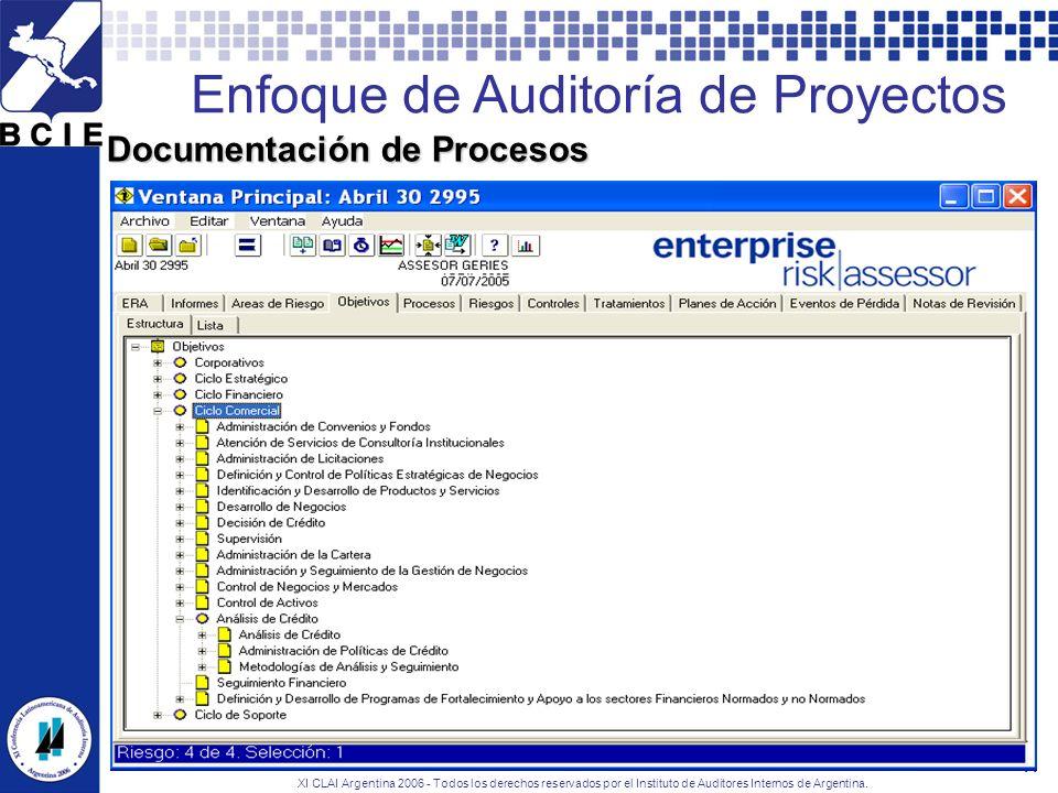 XI CLAI Argentina 2006 - Todos los derechos reservados por el Instituto de Auditores Internos de Argentina. 11 Documentación de Procesos Enfoque de Au