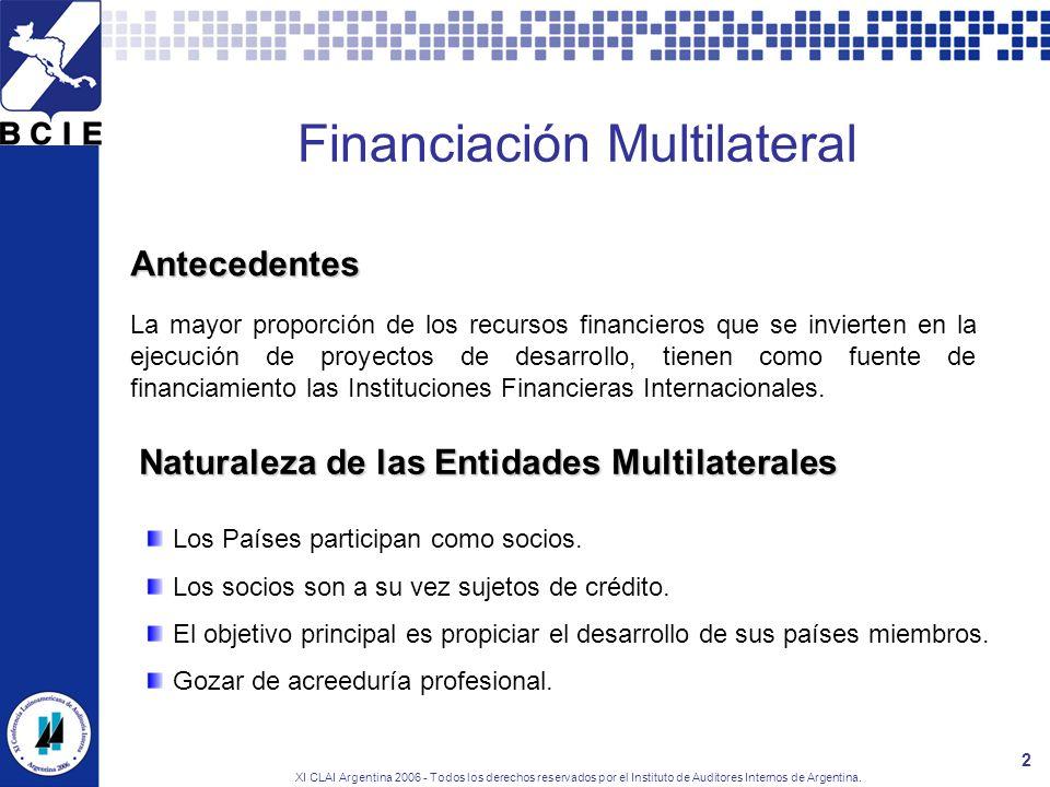 XI CLAI Argentina 2006 - Todos los derechos reservados por el Instituto de Auditores Internos de Argentina. 2 Financiación Multilateral Antecedentes L