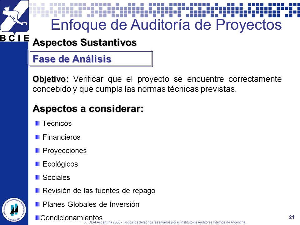 XI CLAI Argentina 2006 - Todos los derechos reservados por el Instituto de Auditores Internos de Argentina. 21 Aspectos Sustantivos Aspectos a conside