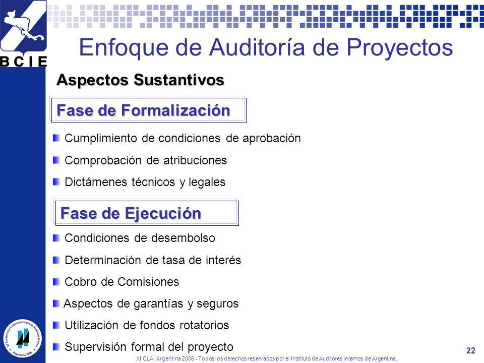 XI CLAI Argentina 2006 - Todos los derechos reservados por el Instituto de Auditores Internos de Argentina. 22 Enfoque de Auditoría de Proyectos Cumpl