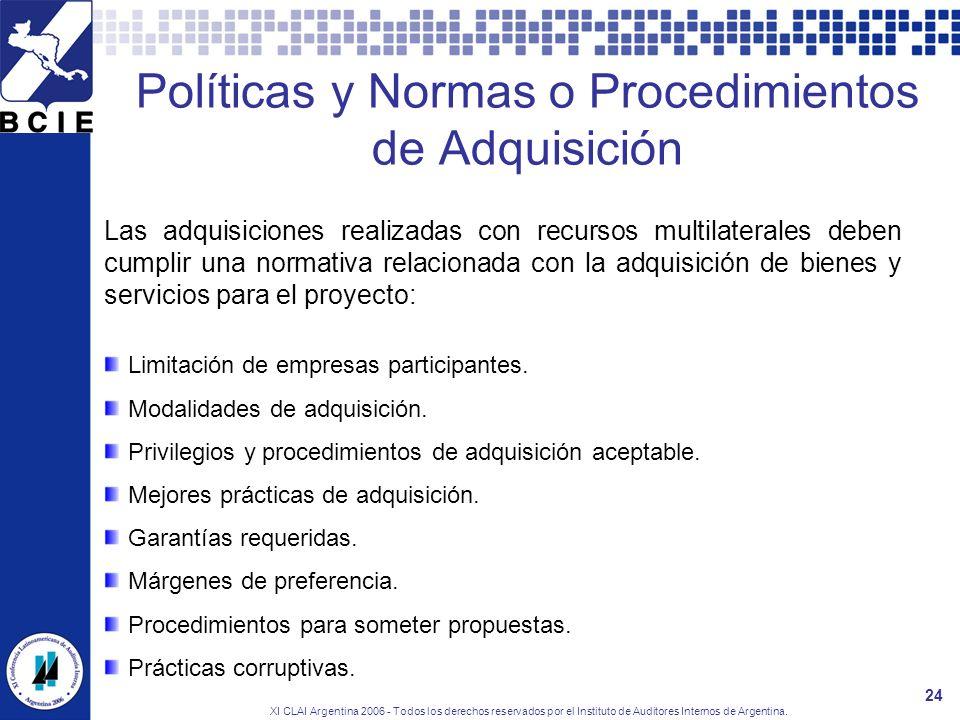 XI CLAI Argentina 2006 - Todos los derechos reservados por el Instituto de Auditores Internos de Argentina. 24 Políticas y Normas o Procedimientos de