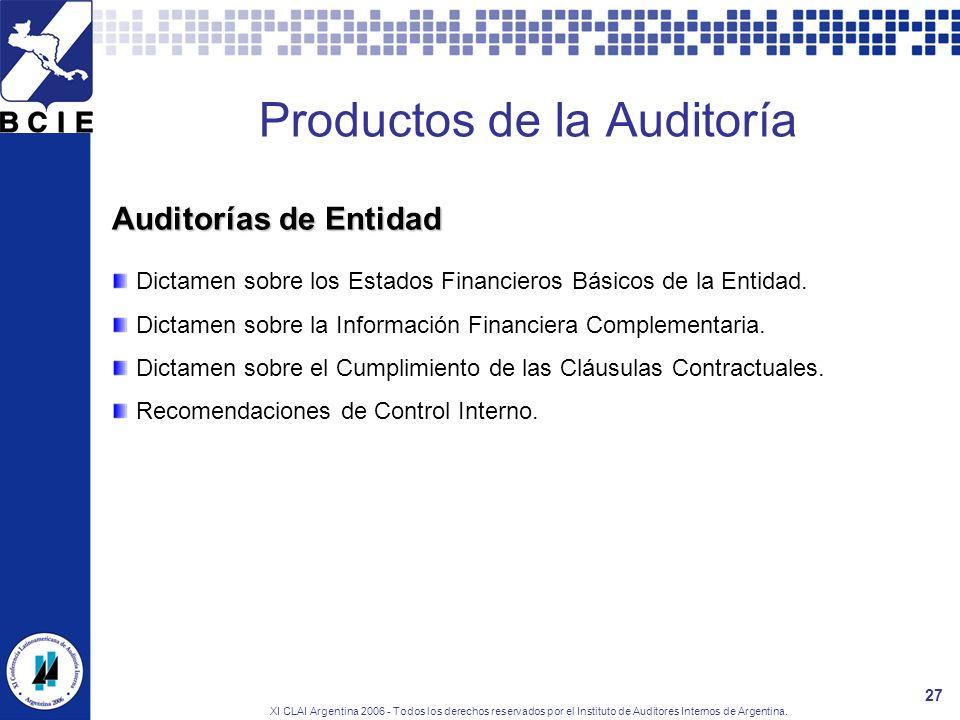 XI CLAI Argentina 2006 - Todos los derechos reservados por el Instituto de Auditores Internos de Argentina. 27 Productos de la Auditoría Dictamen sobr