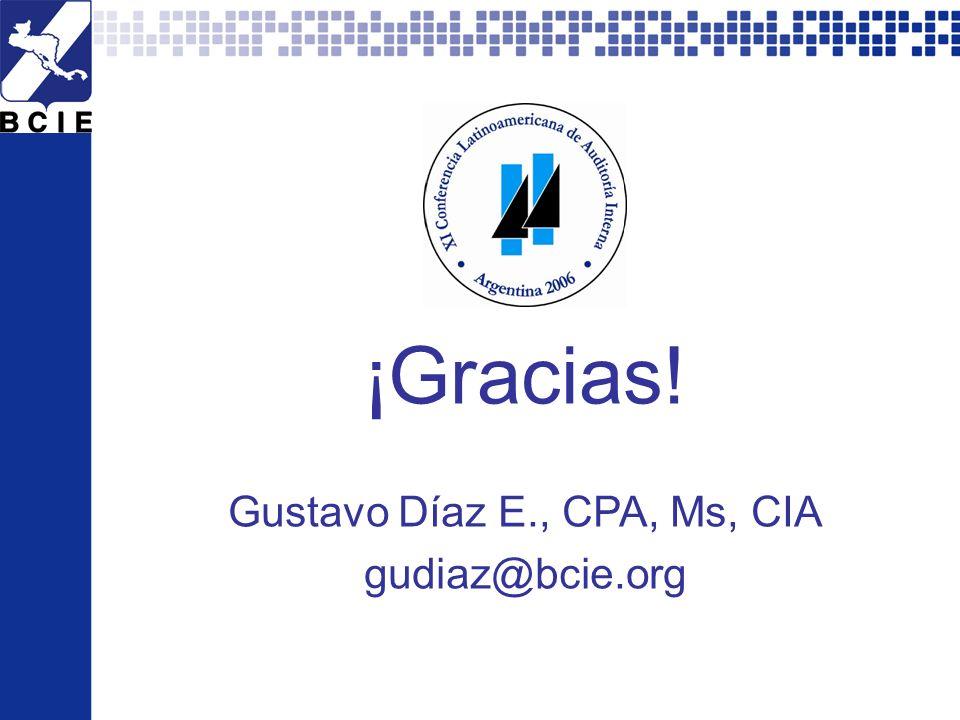 XI CLAI Argentina 2006 - Todos los derechos reservados por el Instituto de Auditores Internos de Argentina. 29 ¡Gracias! Gustavo Díaz E., CPA, Ms, CIA