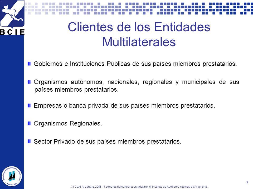 XI CLAI Argentina 2006 - Todos los derechos reservados por el Instituto de Auditores Internos de Argentina. 7 Clientes de los Entidades Multilaterales