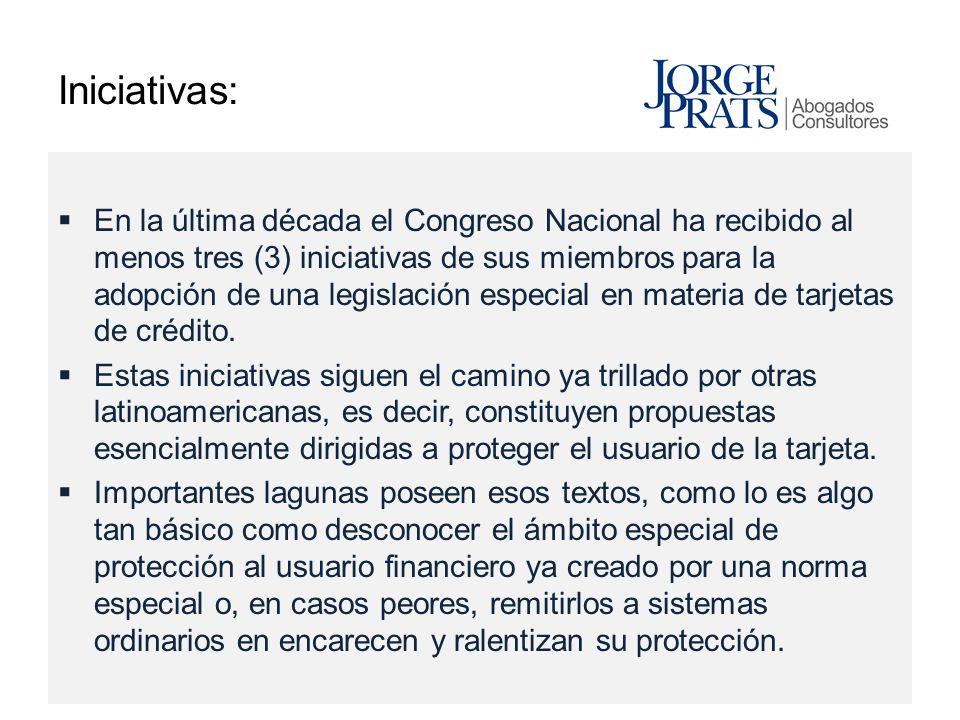 Iniciativas: En la última década el Congreso Nacional ha recibido al menos tres (3) iniciativas de sus miembros para la adopción de una legislación es