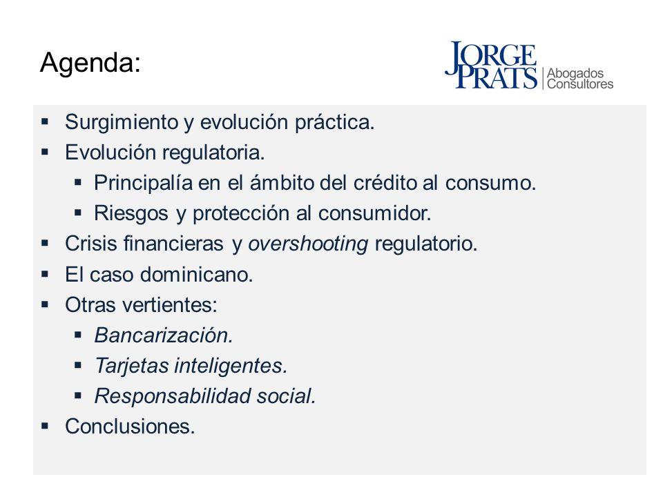 Agenda: Surgimiento y evolución práctica. Evolución regulatoria. Principalía en el ámbito del crédito al consumo. Riesgos y protección al consumidor.