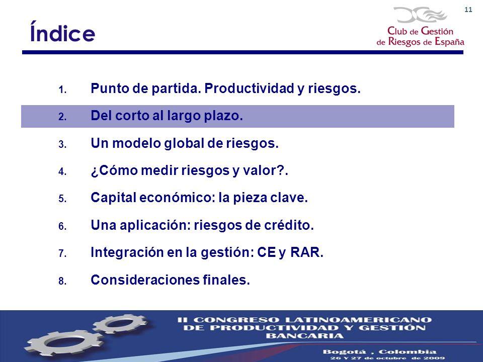 11 Índice 1. Punto de partida. Productividad y riesgos. 2. Del corto al largo plazo. 3. Un modelo global de riesgos. 4. ¿Cómo medir riesgos y valor?.