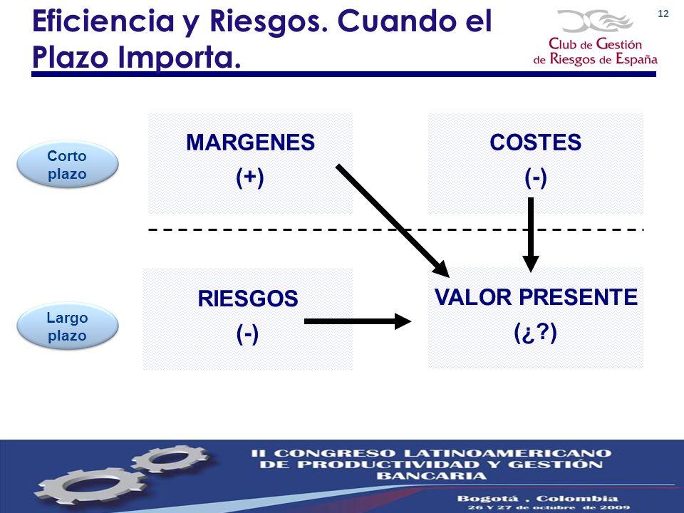 12 Eficiencia y Riesgos. Cuando el Plazo Importa. Corto plazo MARGENES (+) Largo plazo COSTES (-) RIESGOS (-) VALOR PRESENTE (¿?)