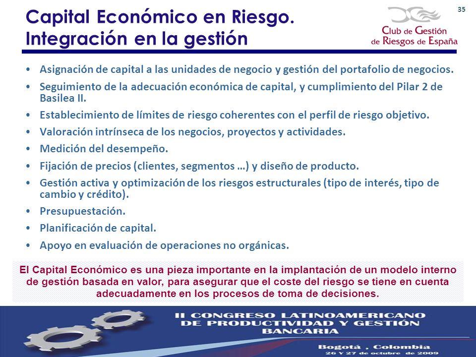 35 Capital Económico en Riesgo. Integración en la gestión Asignación de capital a las unidades de negocio y gestión del portafolio de negocios. Seguim