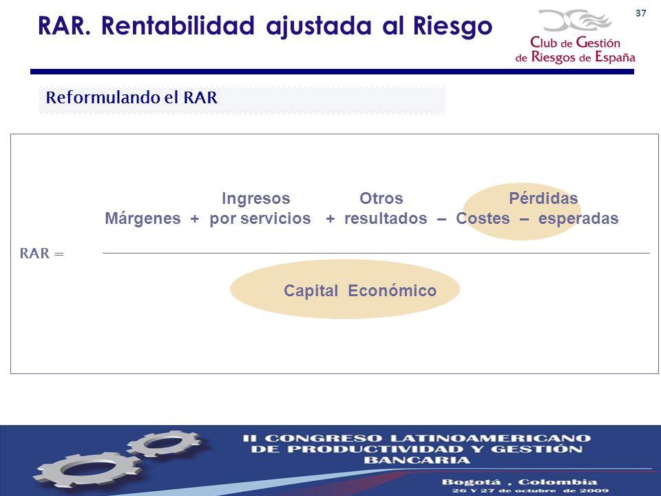 37 RAR. Rentabilidad ajustada al Riesgo Ingresos Otros Pérdidas Márgenes + por servicios + resultados – Costes – esperadas RAR = Capital Económico Ref