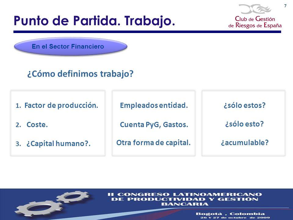 7 Punto de Partida. Trabajo. 1. Factor de producción. Empleados entidad.¿sólo estos? ¿Cómo definimos trabajo? En el Sector Financiero 3. ¿Capital huma