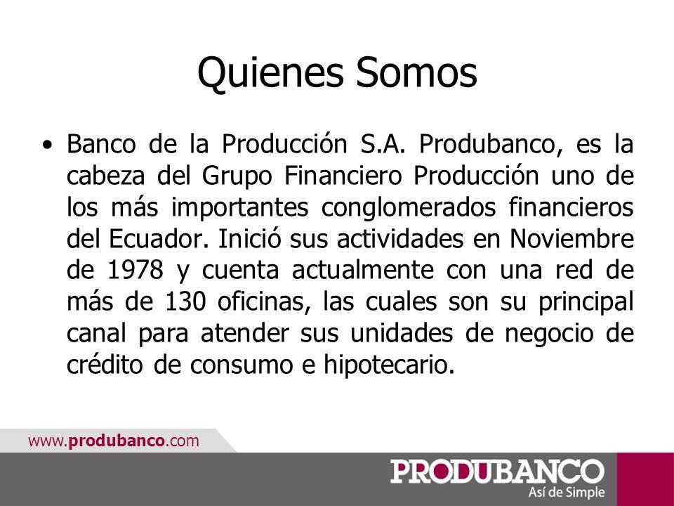 www.produbanco.com Quienes Somos Banco de la Producción S.A. Produbanco, es la cabeza del Grupo Financiero Producción uno de los más importantes congl