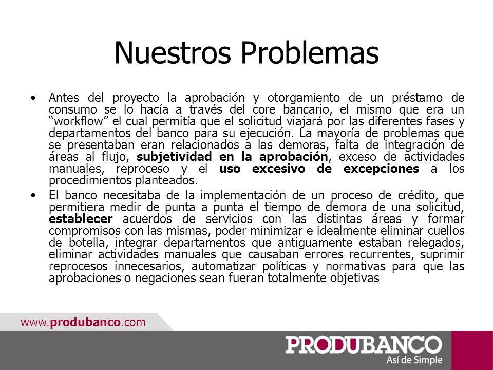 www.produbanco.com Nuestros Problemas Antes del proyecto la aprobación y otorgamiento de un préstamo de consumo se lo hacía a través del core bancario