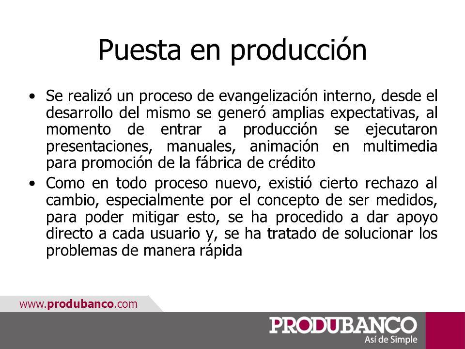 www.produbanco.com Puesta en producción Se realizó un proceso de evangelización interno, desde el desarrollo del mismo se generó amplias expectativas,