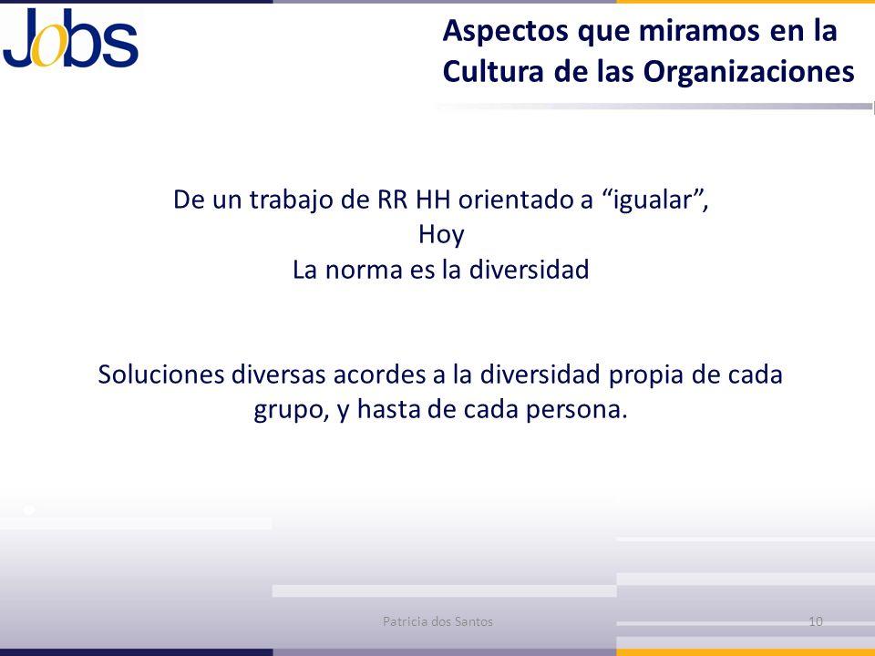 Aspectos que miramos en la Cultura de las Organizaciones De un trabajo de RR HH orientado a igualar, Hoy La norma es la diversidad Soluciones diversas