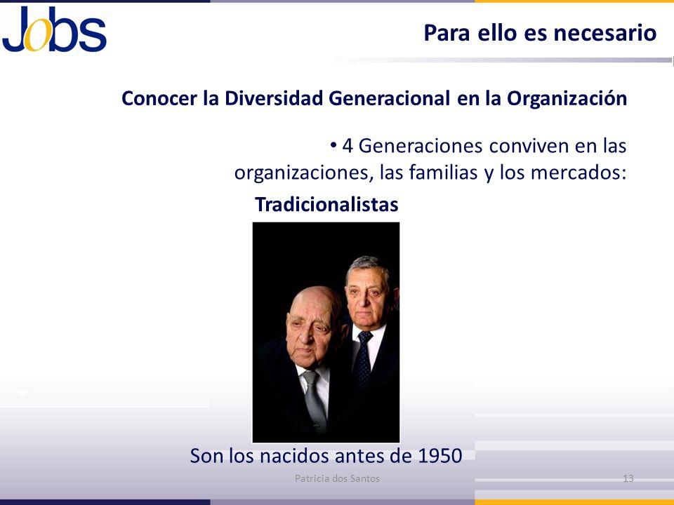 Conocer la Diversidad Generacional en la Organización 4 Generaciones conviven en las organizaciones, las familias y los mercados: Tradicionalistas Pat