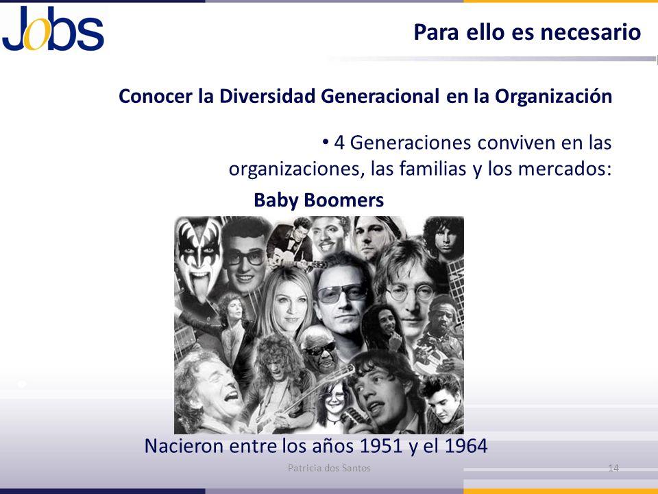 Conocer la Diversidad Generacional en la Organización 4 Generaciones conviven en las organizaciones, las familias y los mercados: Baby Boomers Patrici