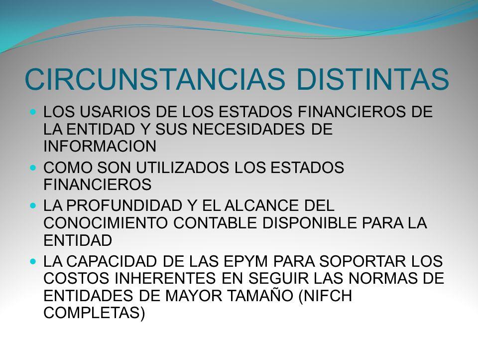 CIRCUNSTANCIAS DISTINTAS LOS USARIOS DE LOS ESTADOS FINANCIEROS DE LA ENTIDAD Y SUS NECESIDADES DE INFORMACION COMO SON UTILIZADOS LOS ESTADOS FINANCI