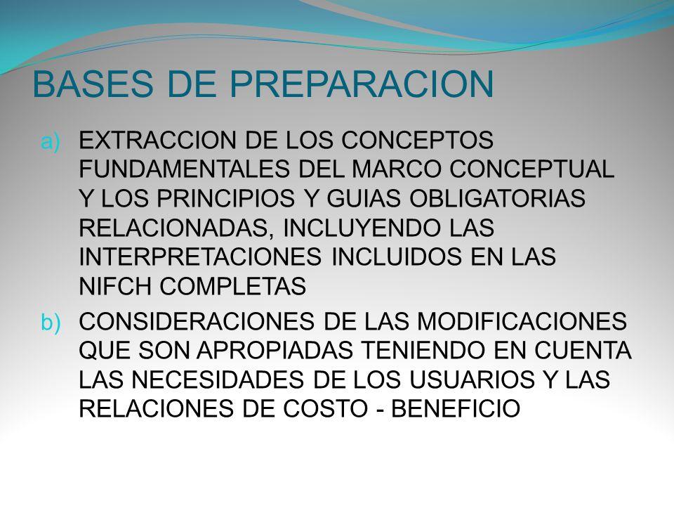 BASES DE PREPARACION a) EXTRACCION DE LOS CONCEPTOS FUNDAMENTALES DEL MARCO CONCEPTUAL Y LOS PRINCIPIOS Y GUIAS OBLIGATORIAS RELACIONADAS, INCLUYENDO