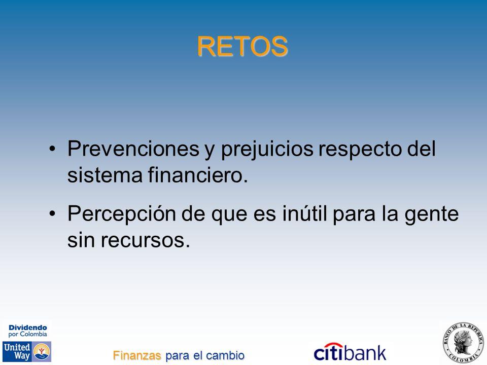 RETOS Prevenciones y prejuicios respecto del sistema financiero. Percepción de que es inútil para la gente sin recursos. Finanzas para el cambio