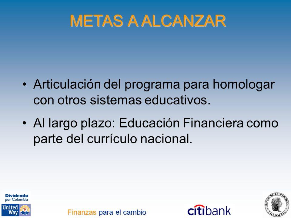 METAS A ALCANZAR Articulación del programa para homologar con otros sistemas educativos. Al largo plazo: Educación Financiera como parte del currículo