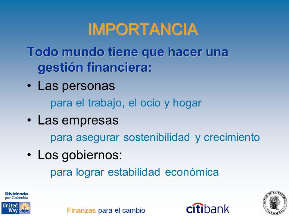 IMPORTANCIA Todo mundo tiene que hacer una gestión financiera: Las personas para el trabajo, el ocio y hogar Las empresas para asegurar sostenibilidad