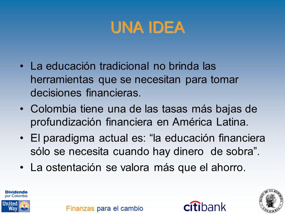 UNA IDEA La educación tradicional no brinda las herramientas que se necesitan para tomar decisiones financieras. Colombia tiene una de las tasas más b