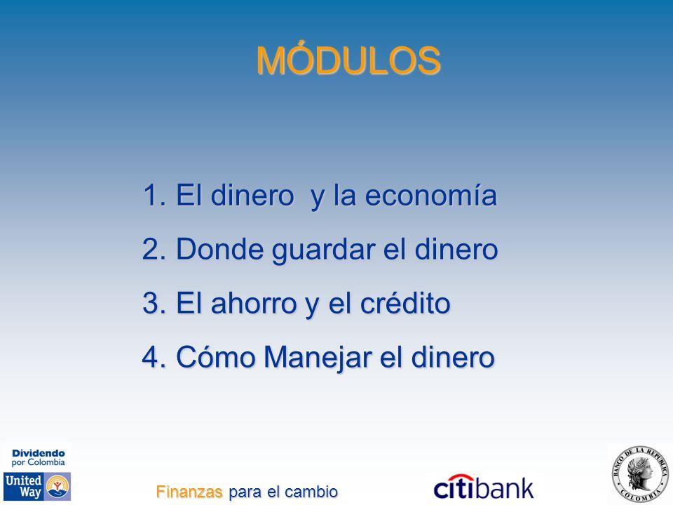 1. El dinero y la economía 2. Donde guardar el dinero 3. El ahorro y el crédito 4. Cómo Manejar el dinero MÓDULOS Finanzas para el cambio