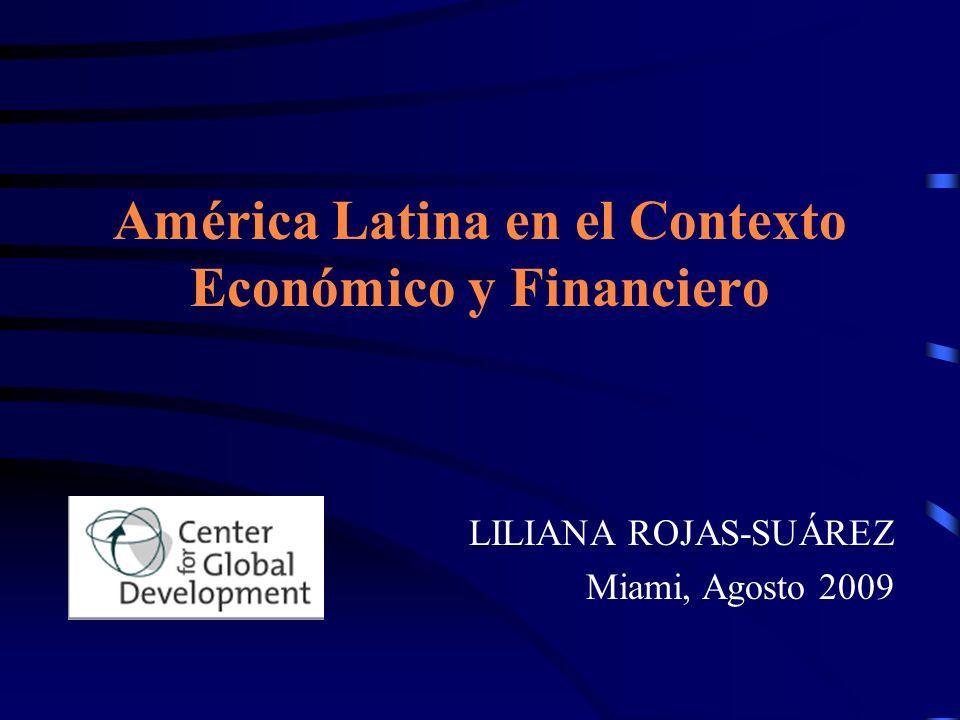 La crisis está afectando América Latina y el resto de países emergentes mediante los canales Financiero Comercial Los Canales de Transmisión de la Crisis y la Respuesta de Política Económica Aumento del Costo del Crédito Disminución de la disponibilidad de crédito Deterioro de términos de intercambio Disminución de demanda global por productos de Exportación