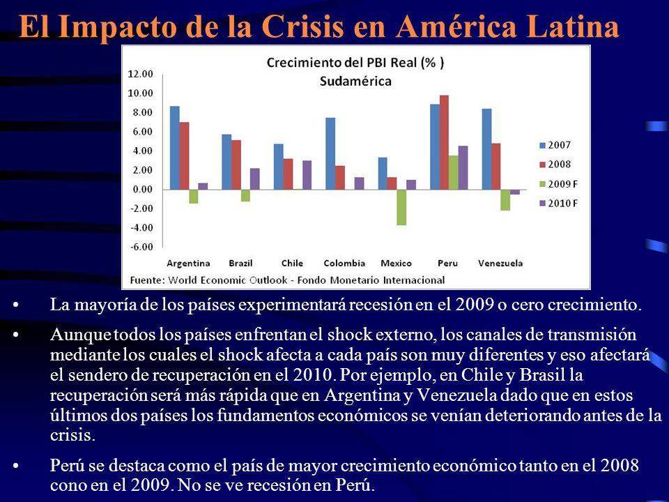 La mayoría de los países experimentará recesión en el 2009 o cero crecimiento. Aunque todos los países enfrentan el shock externo, los canales de tran