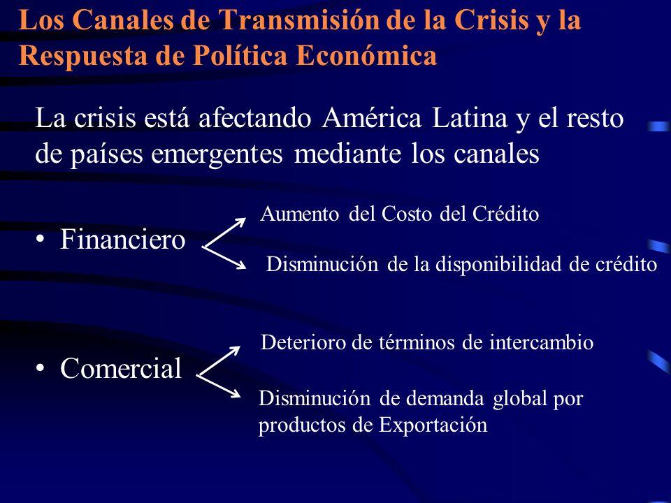 La crisis está afectando América Latina y el resto de países emergentes mediante los canales Financiero Comercial Los Canales de Transmisión de la Cri