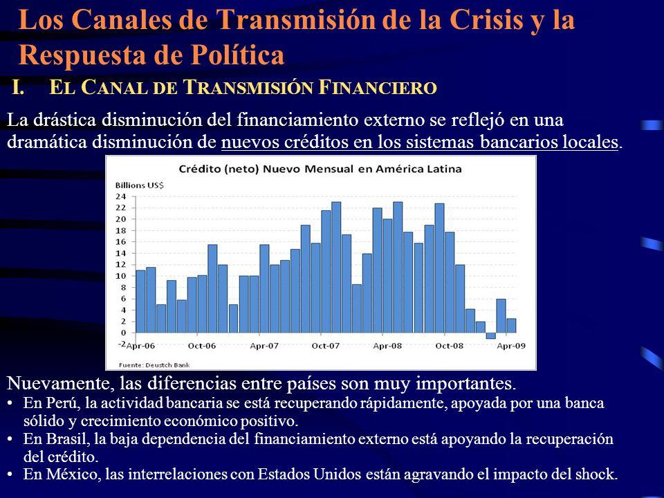 Los Canales de Transmisión de la Crisis y la Respuesta de Política I.E L C ANAL DE T RANSMISIÓN F INANCIERO La drástica disminución del financiamiento