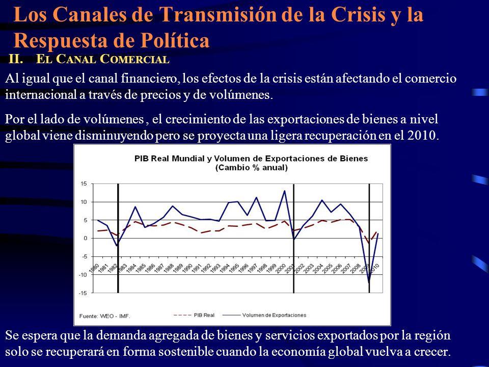 Los Canales de Transmisión de la Crisis y la Respuesta de Política II. E L C ANAL C OMERCIAL Al igual que el canal financiero, los efectos de la crisi