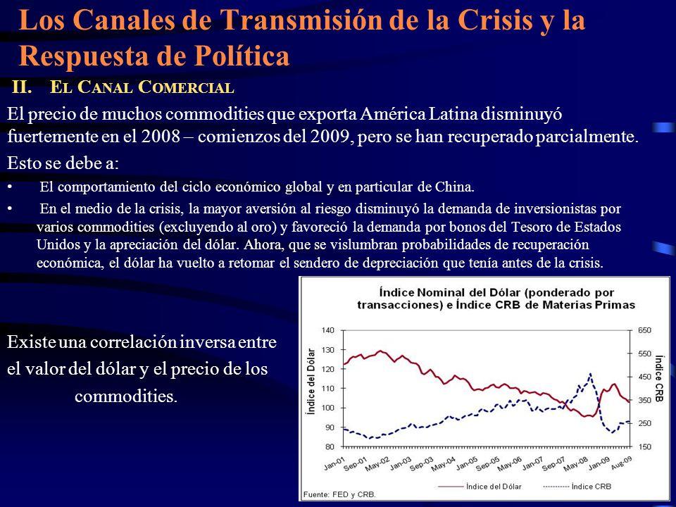 Los Canales de Transmisión de la Crisis y la Respuesta de Política II. E L C ANAL C OMERCIAL El precio de muchos commodities que exporta América Latin