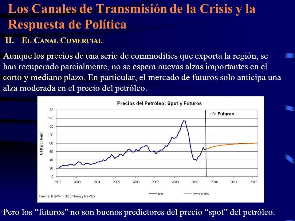 Los Canales de Transmisión de la Crisis y la Respuesta de Política II. E L C ANAL C OMERCIAL Aunque los precios de una serie de commodities que export